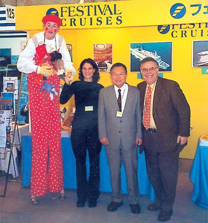 Popi Tsafos of Nereus Cruise Holidays; Jashi Ebata, Festival representative in Japan; and Teris Tsafos of Nereus Cruise during the recent Jata travel fair in Tokyo.