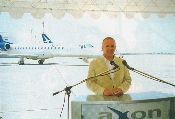 Thomas Liakounakos, chairman of Axon Airlines and Axon Holdings, presented airline's five new jets this past summer just prior to the terrorism attack in the U.S. that overturned so many optimistic investment plans.