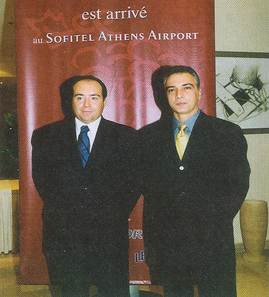"""In mid November, Sofitel hosted its very first reception for the annual celebration of the """"Beaujolais Nouveau,"""" the world famous French wine, under the auspices of the French Embassy. On the left is the hotel's manager, Frederic Clement, with George Stavrou, regional director of sales for Accor's leisure and tourism hotels."""