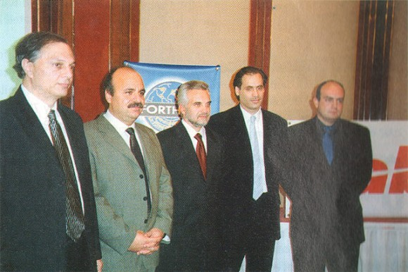 Present to announce their new cooperation agreement are: Ioannis Iliadis, deputy board chairman of Forthcrs; Pantelis Tzortazakis, board chairman of Forthcrs; Agisilaos Athanasiadis, country manager for Sabre Hellas; Pavlos Poulopatis, project manager for Sabre Hellas; and Panayiotis Moutsatsos, commercial manager for Forthcrs.