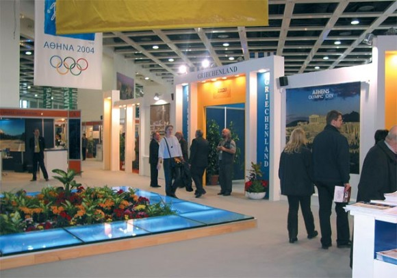 Greece's pavilion at this year's ITB tourism fair was bigger than other years, 2,255 square meters, but although the entrance area changed somewhat, everything within the pavilion remained basically the same with most stands rented from the Hellenic Tourism Organization being old and faded.