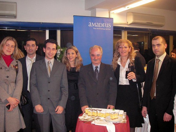 Amadeus Hellas' Marketing Supervisor, Vicky Bardakou; Senior Executives of Customer Support, Tassos Haralambis and Christos Koblis; Sales Executive Myrto Vassiloglou; President of the HATTA, Yiannis Evangelou; General Manager of Amadeus Hellas, Eva Karamanou and Sales Executive, Manos Psathas, at a recent event held by HATTA in honor of airline representatives and sponsored by Amadeus Hellas.