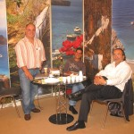 Visitors to the Kythera stand were informed by Panagiotis Gianniotis, representative of the tourism promotion service of the island's municipality, just why Kythera has gained so much popularity among travelers. Mr. Gianniotis is pictured with Yiorgos Kasimatis from Irida Hotel and Andreas Michaelides, sales and marketing manager of Romantica Hotel Apartments.
