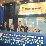 Olympic Air's stand displayed wishes, written on the spot, on post-its by professionals and visitors (right). Pictured are: Gerasimos Monokroussos, Olympic Handling commercial executive; Nadia Al Kosvini, Olympic Air public relations officer; Ioannis Novas, Olympic Handling commercial executive; and Christina Anastasiou, Olympic Air stewardess. Olympic Air's stand won one of the Philoxenia Best Creativity prizes.