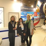 The Athens Airways team: Nadia Kabourlidou, East Macedonia and Thraki area manager; Melina-Giovanna Petrini, area sales manager; and Margie Anyfantaki, public relations and communication director, at the airline's stand. Athens Airways launched flights to Ioannis Kapodistrias Airport on Corfu as of October. The flights are conducted three times a week, every Friday, Saturday and Sunday.