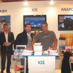 Panagiotis Pantazopoulos, president of the Ios Hoteliers Association, with Kostas Rodopoulos, manager of the Ios Municipality Tourism Enterprise, at the island's stand. Mr. Rodopoulos informed visitors on the island's alternative forms of tourism such as religious, marine and agritourism. Also, among the municipality's initiatives is the promotion of Homer's tomb on a global scale.