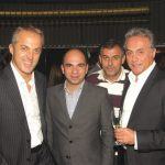 """""""Tourism in Greece needs to stand united against difficult times and present itself with confidence as the best brand of relaxation and enjoyment,"""" said George Daskalakis, CEO of Eurostar/Travel Plan (center-left) when asked to comment on the current situation of Greek tourism. He is pictured with owners of Antaeus Travel, Yannis Nikolaou and Vassilis Hatzantonis; and Thanassis Cavdas, sales and advertising manager of GTP (center-right) at a private party held in a popular bar/restaurant in Thessaloniki."""