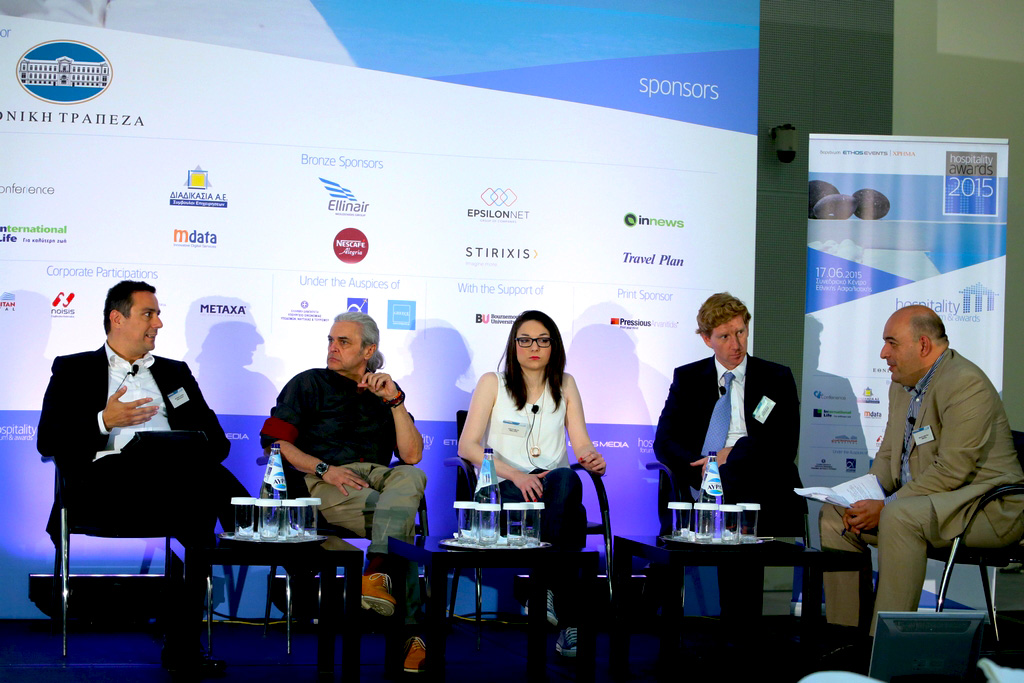 Dimosthenis Broussalis giving his expert opinion during a panel discussion at the 2nd Hospitality Forum, organized by Ethos Events in Athens.