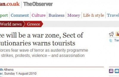 "The Sect of Revolutionaries terrorist group's proclamation made international headlines and sparked news stories with titles such as ""Greece will be a war zone, Sect of Revolutionaries warns tourists"" (The Observer/The Guardian)."