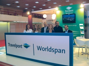 Travelport-Worldspan's Country Manager for Greece Leonidas Zotos (center) with his team. Visitors were informed in regards to Travelport's plans for direct services to travel agencies connected to the Galileo system in Greece and Cyprus as the distribution agreement it currently has with Galileo Hellas will end on 31 December 2010. Travelport's stand won a special award by Helexpo.