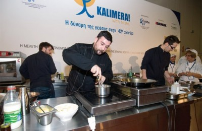 """George Venieris, executive chef of the Athens-based Electra Palace, whisks up a Greek breakfast at Xenia's """"Kalimera! with taste"""" event. The event showcased the talent and the creativity of seven young chefs in respect to creating innovative breakfast ideas from a """"destination dining"""" point of view."""