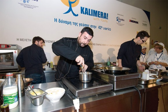 "George Venieris, executive chef of the Athens-based Electra Palace, whisks up a Greek breakfast at Xenia's ""Kalimera! with taste"" event. The event showcased the talent and the creativity of seven young chefs in respect to creating innovative breakfast ideas from a ""destination dining"" point of view."