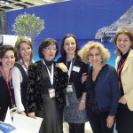 GNTO Germany's Maria Zarnakoupi, Elisavet Zotou, Olympia Tsioulaki, Maria Pampiri, Dr. Katerina Karakasi and Irene Trutwig at the organization's stand at ITB Berlin. Guests to Berlin's 45th travel trade show had the opportunity to browse, enjoy images and scenes of Greece and its culture and even surf the visitgreece.gr website.