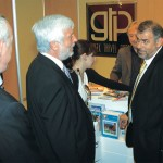 Governor of Peloponese District Petros Tatoulis and Greek Travel Pages Sales and Marketing Manager Thanassis Cavdas at the GTP stand.