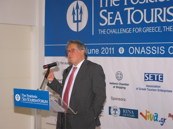 Hellenic Chamber of Shipping President Yiorgos Gratsos speaking at a press conference last month held prior to the 1st Posidonia Sea Tourism Forum. At the time of the press conference, it was mentioned that a draft law prepared by the former Maritime Affairs, Islands and Fisheries Ministry—aimed to develop marine and fishing tourism—was scheduled to be tabled in Parliament. However, due to a government reshuffle on 17 June 2011 and the abolishment of the specific ministry, it now remains unclear if and when this would take place. The abolished ministry's responsibilities have been assigned to the Regional Development, Competitiveness and Shipping Ministry.