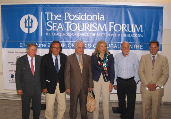 Key figures of Greek sea tourism at the press conference prior to the 1st Posidonia Sea Tourism Forum.