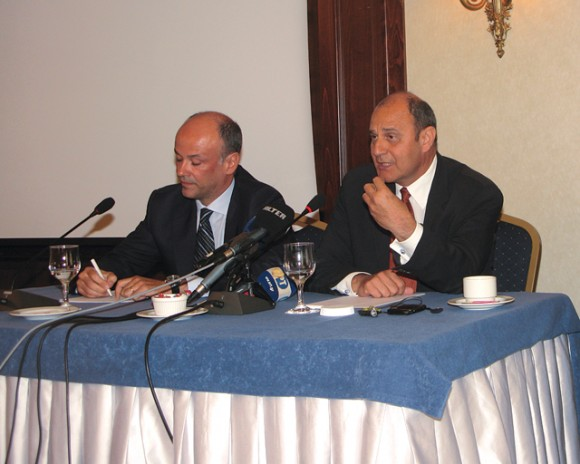 "Athens-Attica Hoteliers Association President Yiannis Retsos and Grande Britain's Hotel Manager Tim Ananiadis during the association's press conference last month. ""The issue is not what we lost but what we will lose and unfortunately the problem is not just about hotels in the center as we are losing conferences scheduled for 2012-2013,"" Mr. Ananiadis said."