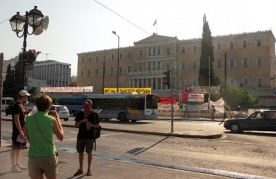 On 30 June, one day after the clashes at Syntagma Square and with teargas still in the air, tourists took photographs in front of the Greek Parliament and anti-austerity signs and banners. According to a tourism expert, incidents and conflicts are limited to Athens so the rest of Greece would not see losses from tourism.