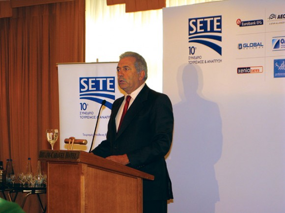 """At the lunch that followed SETE's tenth annual tourism and development conference, main opposition New Democracy party vice president (and former tourism minister) Dimitris Avramopoulos supported SETE's proposal of a unitary 6.5 percent VAT rate on the entire range of travel package services. In regards to the new property tax imposed on hotels, Mr. Avramopoulos said the measure is """"unfair, abusive and illogical."""""""