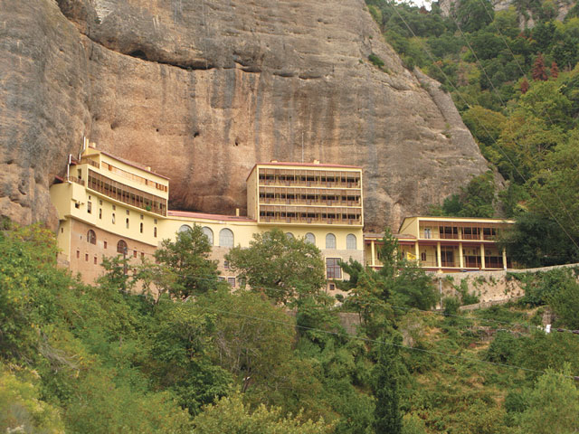 The monastery of Mega Spileo is built on a 120-meter high wild rock, at 10 kilometers from the town of Kalavryta. The monastery was founded at this location in 362 AD by two monks, Symeon and Theodore, who found an icon of the Virgin Mary at the bottom of the cave.