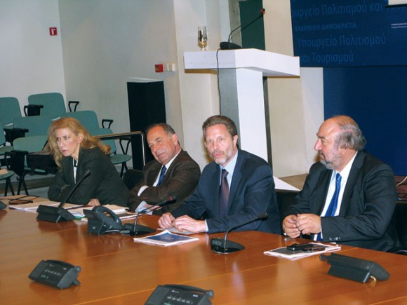 Culture and Tourism Minister Pavlos Yeroulanos (third from left) has estimated that, according to the new omnibus bill, the average time needed to obtain a license for a new tourist accommodation would now be a year and a half (as opposed to the some four years needed until now).