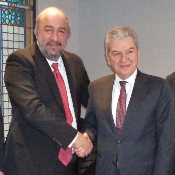 Deputy Culture and Tourism Minister George Nikitiadis and Izmir Chamber of Commerce chairman Ekrem Demirtas.