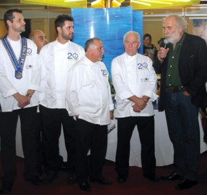 """Hellenic Chamber of Hotels Board Member Yiorgos Pittas (right), accompanied by members of the Hellenic Chef's Association, during his presentation of the """"Greek Breakfast"""" initiative. Through the initiative professionals aim to show how the breakfast concept is an essential part of Greek hospitality. Mr. Pittas is the supervisor of the initiative."""