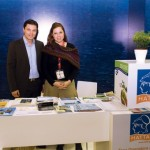 """The Hellenic Association of Travel and Tourist Agencies' (HATTA) vice president, Ioannis Papadakis, and representative, Frini Alexiou, at the association's stand. HATTA recently urged the Greek Government to take immediate action to save Greek tourism. """"Unfortunately there is a serious gap in addressing the defamation of our country,"""" HATTA had said."""