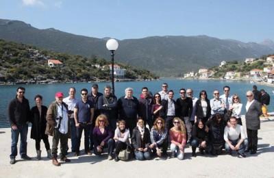 Monemvasia fam trip: Greek tourism journalists at Gerakas Port in Lakonia.