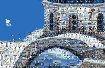 """One of the mosaic images of Greece displayed on the giant digital billboard in New York's Times Square to remind Americans of the country's natural beauties. The imagery was created by Greek visual designer Charis Tsevis and accompanied by the taglines """"See you in Greece"""" and """"Join us in Greece."""""""