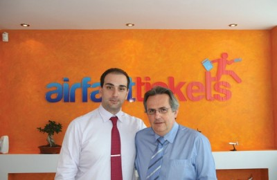 Airfasttickets President Nikos Koklonis with new director for the company's Athens branch, Panagis Vassilatos.