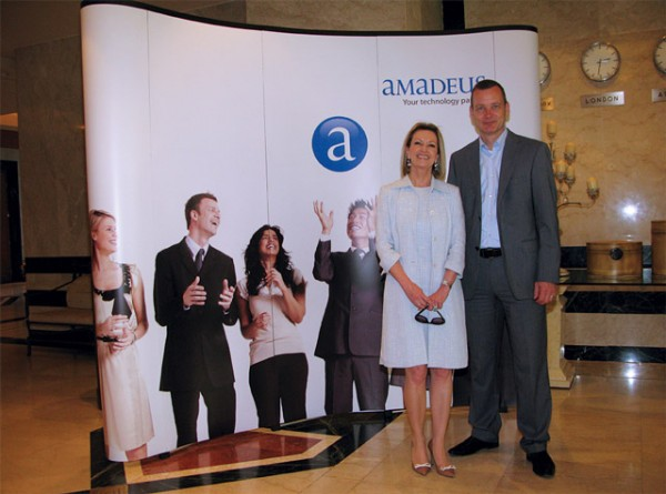 Amadeus' Vice President of the Northern, Eastern, Central and Southern Europe (NECSE) region Petra Euler and Director for Central, Eastern and Southern Europe Lutz Vorneweg, during the company's 2012 NECSE Management Meeting held at the Divani Apollon hotel in Kavouri last month.