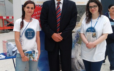 Vice Regional Governor of the Ionian Islands Christos Skourtis at the region's pavilion at Waterloo station in London, UK.