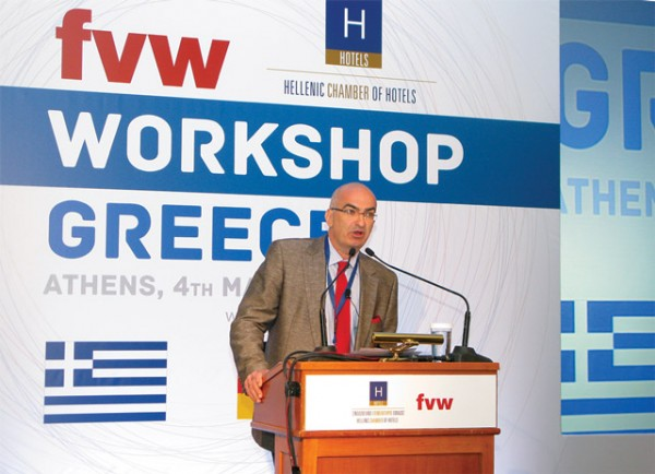 """During his opening speech, the president of the Hellenic Chamber of Hotels, Yiorgos Tsakiris, said """"things are not good"""" since bookings were reported to have dropped by 30 percent compared to last year. The drop came mainly from major markets such as Germany and Austria."""