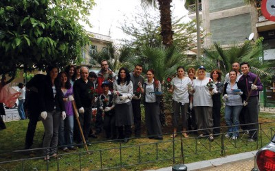 Novotel Athenes' staff and Athenians cleaned up the park on the corner of Liosion and Michael Voda streets in Athens.