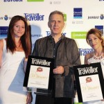 "Aldemar Group won two Condé Nast Traveller awards: The Olympian Village in Olympia was voted ""Most popular Greek beach hotel"" and the Epohes hotel in Ambeliona, Messinia, was voted ""Most popular Greek guesthouse."" Pictured is Petros Bourovilis, Greek Conde Nast Traveller's editor in chief (center) with Aldemar's Dora Batagianni, marketing; and Eftichia Manenti, public relations."