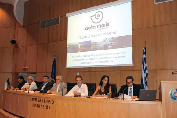 "At a recent press conference, Creta Maris Group CEO Andreas Metaxas (far right) told the audience that the Creta Maris Beach Resort's new culinary identity ""abandons the standard hotel model and international cuisine and will provide a culinary program connected exclusively with the products of Crete and its local gastronomy."""