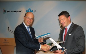 John Karakadas, Olympic Air's executive chairman, and Pieter Elbers, KLM's chief operating officer.