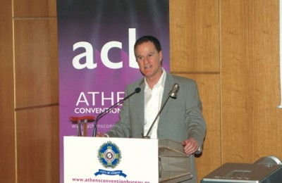 "Rob Davidson from the University of London and Greenwich speaking at the Athens Convention Bureau's second ""ACB event."""