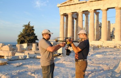 Airpano photographers setting their equipment to get panoramic shots of the Acropolis.