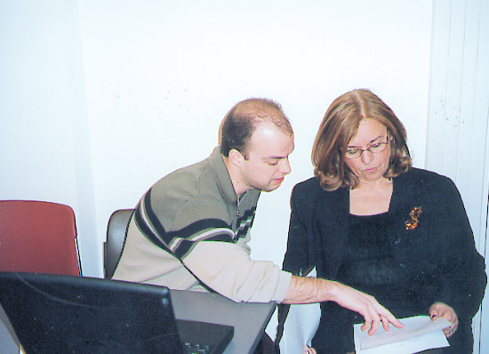 Christos Androutsakis of Patras University with Betty Hadjinikolaou, director of EOT's research and development directorate, and responsible for the creation and coordination of the organization's Internet site.