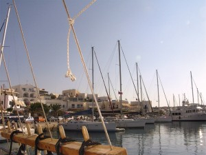 The marina of Adamas on Milos. Here sailing enthusiasts can hire yachts for daily cruises around the island's many beaches and also to nearby Kimolos island.