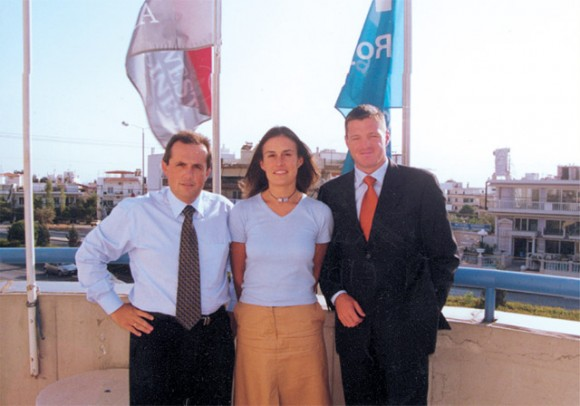 Panagis Vasilatos, KLM's new manager for Greece; Elisa Riva, the airline's new marketing manager in Greece; and Pieter Elbers, KLM's area general manager in Athens responsible for Greece, Cyprus and Mid East.