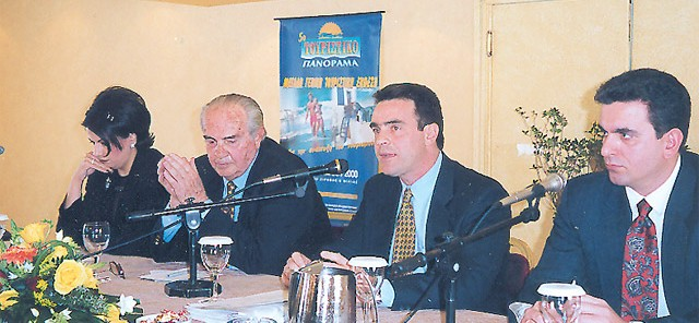 """Kappa's owners (center), the Kalofolias family, owners of Greek financial paper """"Express."""""""