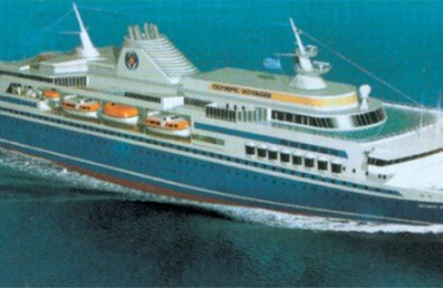 The new Olympic Voyager cruises at a speed of 27 knots and its six passenger decks can accommodate 840 passengers.