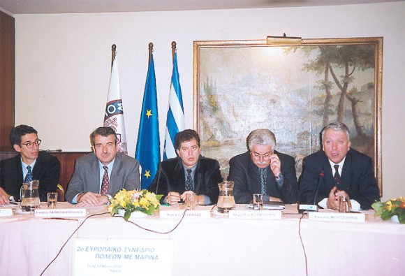 Alexis Kanaris of Europartners; Stavros Papastavropoulous, mayor of Lavrion; Kostas Gouvalas, special secretary at the Greek ministry for development; Alfredos Kountouris of the Hellenic Tourism Organization's marine development department and a member of the European Association of Municipalities with Marinas' board of directors; and Kostas Moutzouris, director for marine works.