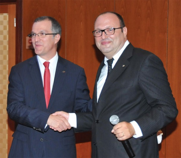 Sofitel Athens Airport Hotel's new general manager Cyril Manguso and the hotel's former general manager Gilles Attias.
