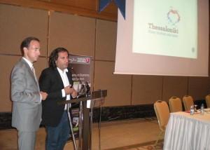 Thessaloniki Tourism Organization Director Nikos Sapountzis and Macedonia-Thrace Travel Agencies Association Vice President Stefanos Chatzimanolis.