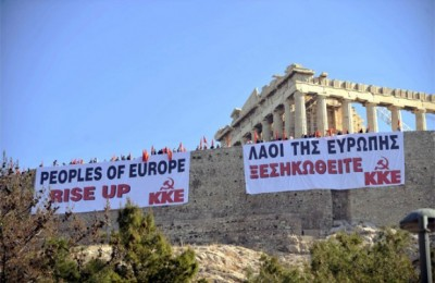 "On 4 May tourists were in for a surprise once they approached the Acropolis and saw huge banners hung over the walls with the slogan ""Peoples of Europe, rise up"" in Greek and English. Some 200 members of labor union PAME had violated the gate at the Acropolis during the morning hours and staged a takeover in protest of the government's austerity measures. Photo: Α.Νikolopoulos/EUROKINISSI"
