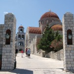 The Monastery of Agios Savvas stands on a hill nearby Pothia and is dedicated to the patron of the island